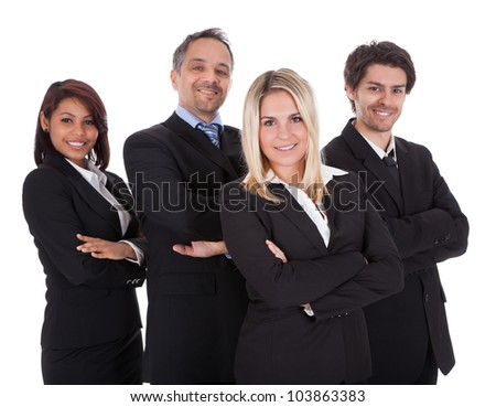 Diverse group of business people confidently standing  together on white background - stock photo
