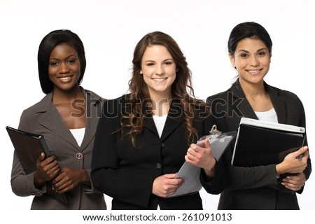 Diverse group of businesswomen working as a team. - stock photo