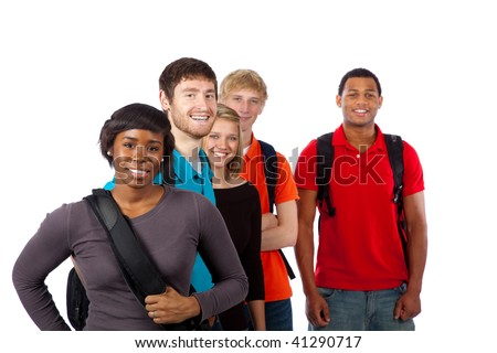 Diverse group of college students/friends including men, women, caucasian and african american - stock photo