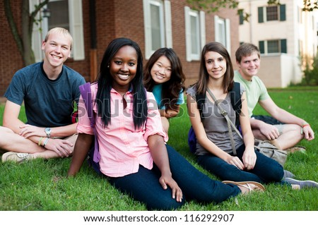 Diverse group of friends outside sitting on a lawn - stock photo