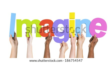 Diverse Group of Hands Holding Imagine - stock photo