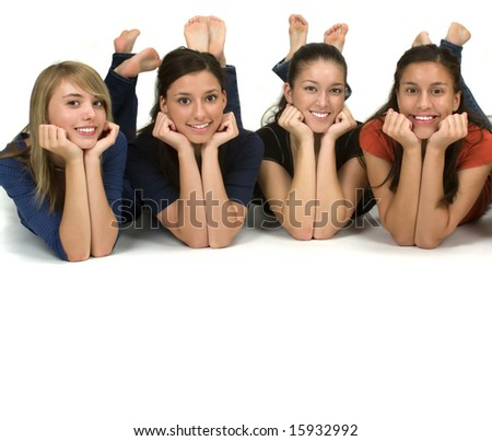 Diverse group of happy students with copy space - stock photo