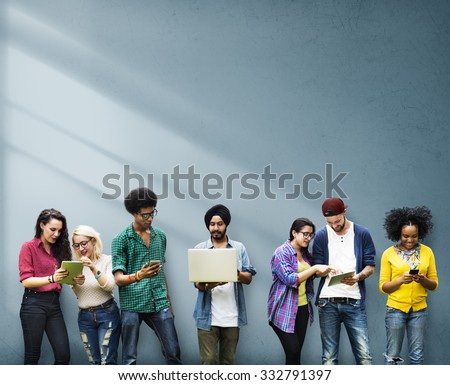 Diverse Group Students Studying Together Wall Concept - stock photo