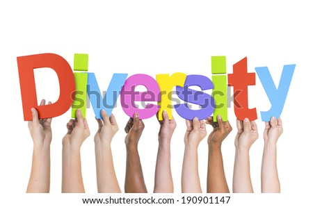 Diverse Hands Holding The Word Diversity - stock photo