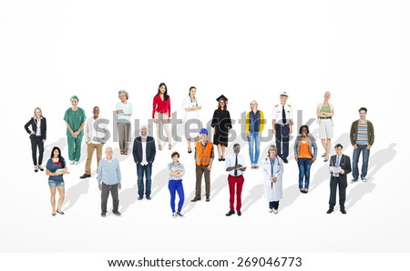 Diverse Large Group Of People Multiethnic Group Community - stock photo