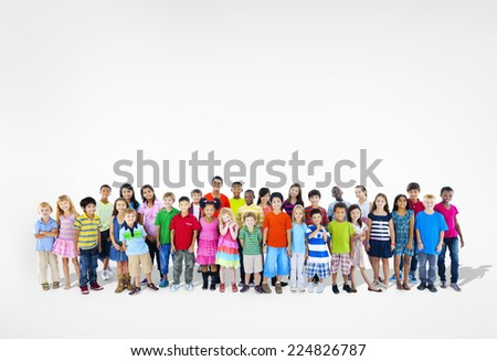 Diverse Multi-Ethnic Group of Children - stock photo