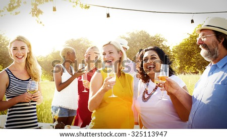 Diverse Neighbors Drinking Party Yard Concept - stock photo