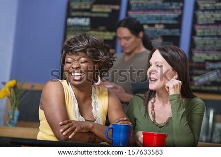 Diverse pair of women joking in coffee house - stock photo