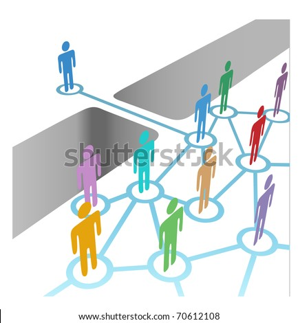 Diverse people bridge a gap to connect and join social media network or merger team - stock photo