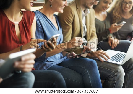 Diverse People Electronic Devices Connection Concept - stock photo