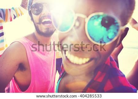 Diverse People Friends Fun Bonding Beach Summer Concept - stock photo