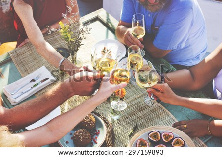 Diverse People Hanging Out Drinking Concept - stock photo
