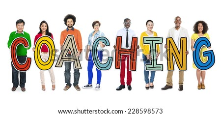 DIverse People Holding Text Coaching - stock photo