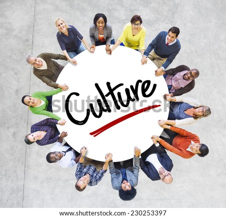Diverse People in a Circle with Culture Concept  stock photo