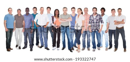 Diverse people in casuals standing against white background - stock photo