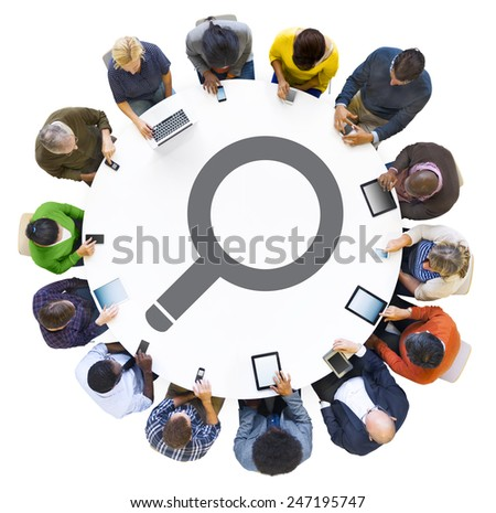 Diverse People Using Digital Devices with Search Symbol - stock photo
