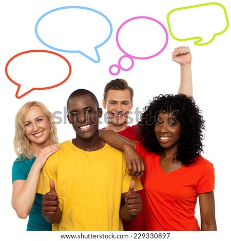 Diverse people with colorful dialog speech bubbles - stock photo