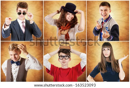 Diverse portraits of young people. I want to be a .... - stock photo