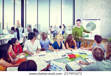 Diverse Students Learning from the Professor - stock photo