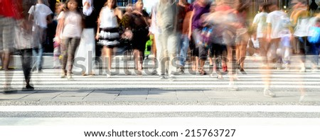 Diversified young crowd on street - stock photo