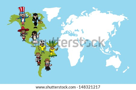 Diversity cartoon people group concept world map over The Americas continent.  - stock photo