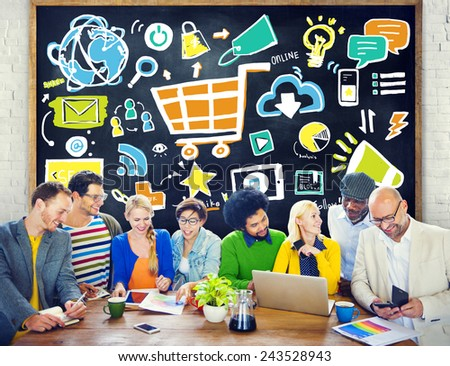 Diversity Casual People Online Marketing Brainstorming Planning Concept - stock photo