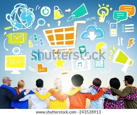 Diversity Casual People Online Marketing Teamwork Support Concept - stock photo