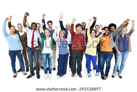 Diversity Casual Team Cheerful Success Community Concept - stock photo