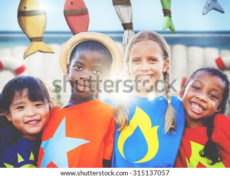Diversity Children Smiling Summer Happy Team Concept - stock photo