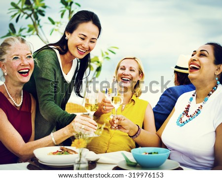 Diversity Friends Hanging out Party Dining COncept - stock photo
