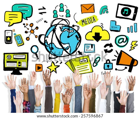 Diversity Hands Media Sharing Support Volunteer Concept - stock photo