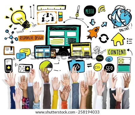 Diversity Hands Responsive Design Content Support Volunteer Concept - stock photo