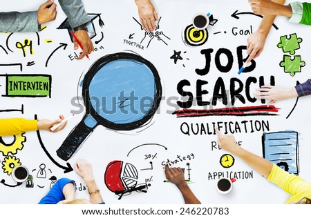 Diversity Hands Searching Job Search Opportunity Concept - stock photo