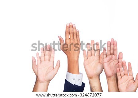 Diversity of Business Hands Raised - stock photo