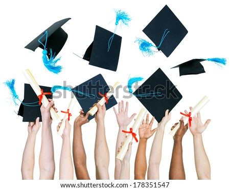 Diversity of People Holding Certificates and Throwing Graduation Caps - stock photo