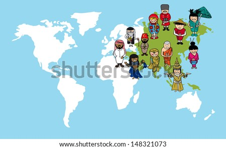 Diversity people concept world map, group cartoon over Asia continent. - stock photo
