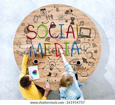 Diversity People Discussion Social Media Technology Concept - stock photo