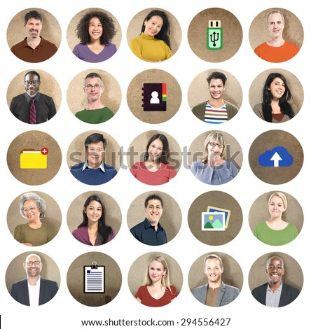 Diversity People Network Cloud Computing Connecting Concept - stock photo