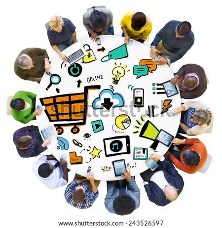 Diversity People Online Marketing Digital Communication Meeting Concept - stock photo