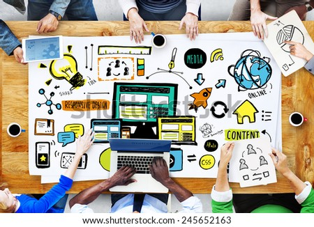 Diversity People Responsive Design Media Teamwork Brainstorming Concept - stock photo