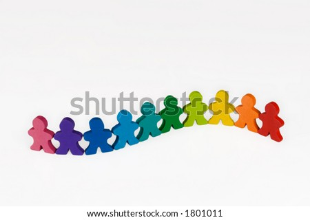 Diversity - Social and Business concepts illustrated with colorful wooden people. - stock photo