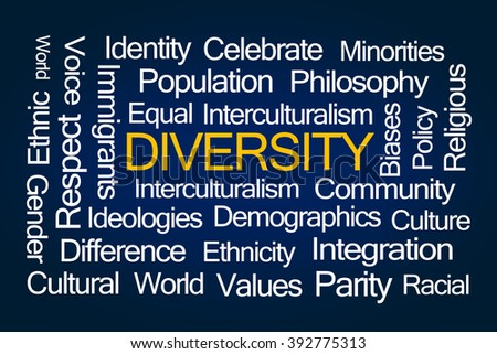 Diversity Word Cloud on Blue Background - stock photo