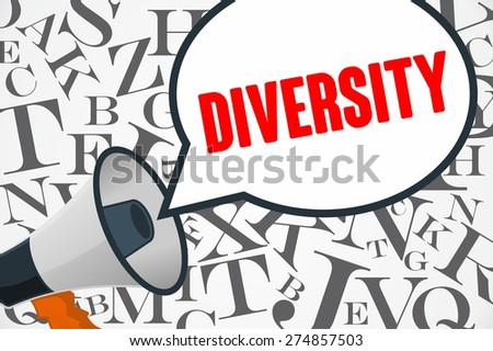 DIVERSITY word out of megaphone - stock photo