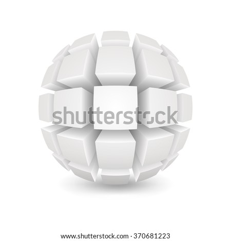 Divided white sphere. Object on a white background. EPS version is available as ID 344678471. - stock photo