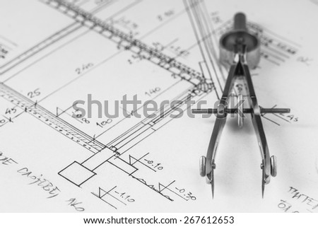 Divider of technical drawing, construction plan. Close up photo. - stock photo