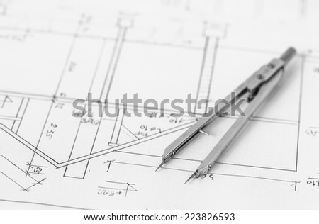 Divider on a technical drawing, construction plans - stock photo