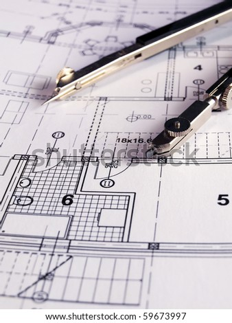 dividers on the architectural project - stock photo