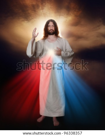 Divine Mercy image of Jesus as depicted by Sister Saint Faustina - stock photo