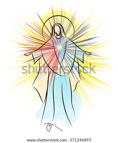 Divine Mercy, Sacred Heart of Jesus, Risen Lord  resurrection Easter color abstract illustration - stock photo