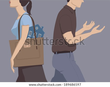 Divorce and division of assets. Man and woman walking away from each other, woman carrying a house in her bag, man walks empty-handed - stock photo